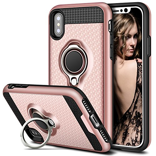 Vofolen Cover for iPhone XS Max Case Ring Holder Kickstand Rotational Clip Stand Dual Layer Holster Hybrid Bumper Armor Heavy Duty Rugged Protective Hard Shell Case for iPhone XS Max 10S Max Rose Gold