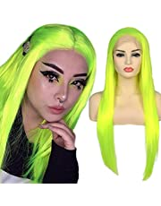 BLUPLE Fluorescent Green Synthetic Lace Front Wigs Long Silk Straight Bright Yellow Green Wig with Free Part High Temperature Fiber For Women Party Show