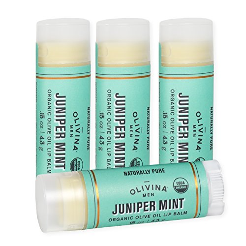Juniper Mint 0.15 Ounce Moisturizing Olive Oil Lip Balm 4 Pack