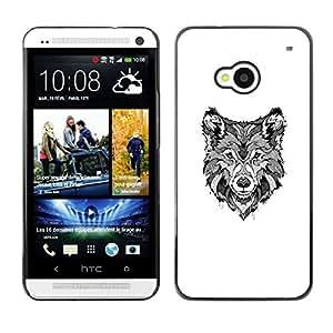 Planetar® ( Black White Hound Dog Canine Sketch ) HTC One M7 Fundas Cover Cubre Hard Case Cover