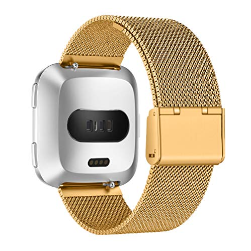 for Fitbit Versa Band Stainless Steel Metal Milanese Accessories Bracelet Strap Replacement Bands, Gold