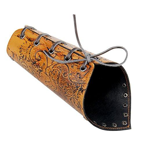 Blesiya Vintage Leather Arm Bracers Gothic Punk Spider Bracelet Bangle Wrist Band - Brown