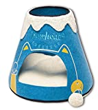 Touchcat 'Molten Lava' Triangular Frashion Designer Pet Kitty Cat Bed House Lounge Lounger w/Hanging Teaser Toy, Large, Blue and White