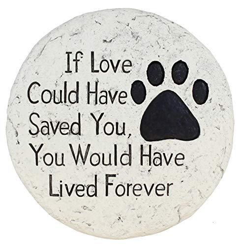 Old River Outdoors Pet Memorial Stone - If Love Could Have Saved You Paw Print Garden Stepping Stone (Stones Stepping Dog)