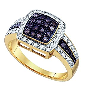Size 6 - 10k Yellow Gold Round Chocolate Brown Diamond Square Cluster Ring (1/2 Cttw)