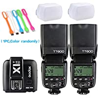 2xGodox TT600 High Speed Sync 2.4G Wireless Camera Flash Speedlite +Godox X1T-N Remote Trigger Transmitter for Nikon+2xDiffuser+ HuiHuang USB LED free gift