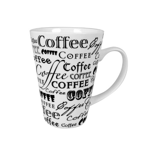 Zrike Brands Coffee Words On Mug, White, Set of 4 (Set Of Oversized Coffee Mugs compare prices)