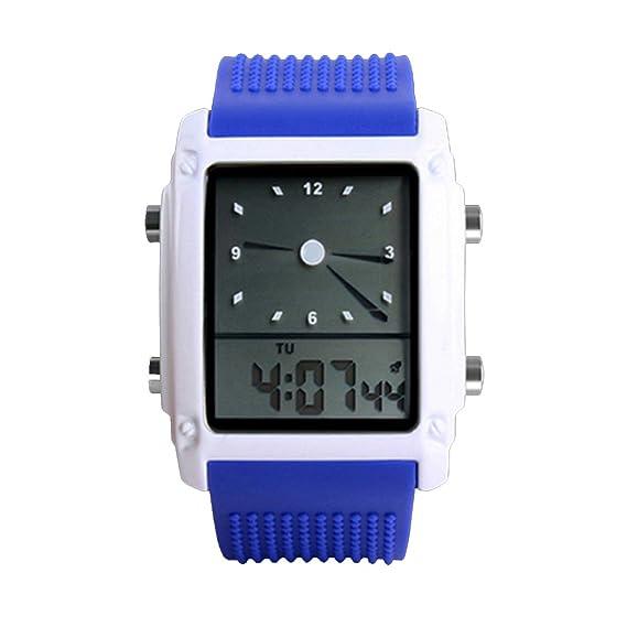 Hombres Plaza del Reloj de pulsera - Skmei Led modelo cuadrada digital deporte impermeable de los hombres reloj de pulsera, color azul: Amazon.es: Relojes