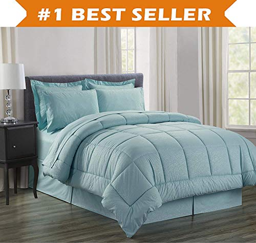 - Luxury Bed-in-a-Bag Comforter Set on Amazon! Elegant Comfort Wrinkle Resistant - Silky Soft Beautiful Design Complete Bed-in-a-Bag 8-Piece Comforter Set -Hypoallergenic- Full/Queen, Turqouise