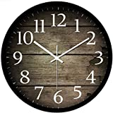 Wall Clock,Hmane 12 Inch European Style Creative Wood Grain Metal Wall Clock Round Modern Home Bedroom Clock - Black