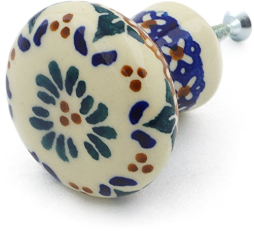 Polish Pottery 2¼-inch Drawer Pull Knob (Blue Cress Theme) Signature UNIKAT + Certificate of Authenticity