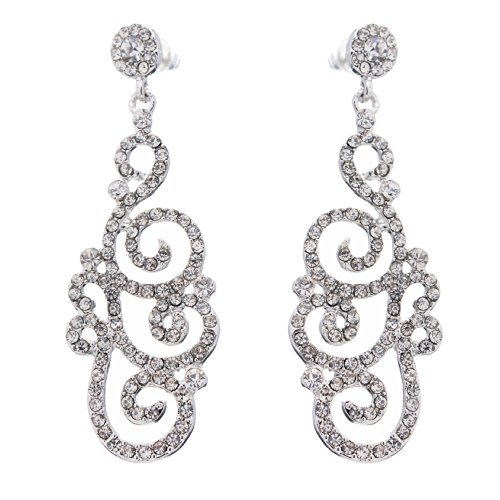 Bridal Wedding Crystal Rhinestone Swirl Vintage Dangle Earrings Silver - Vintage Rhinestone Earring