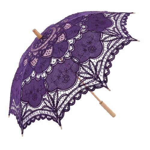 (Topwedding Handmade Embroidered Cotton Wedding Umbrella Parasol Favors Purple)