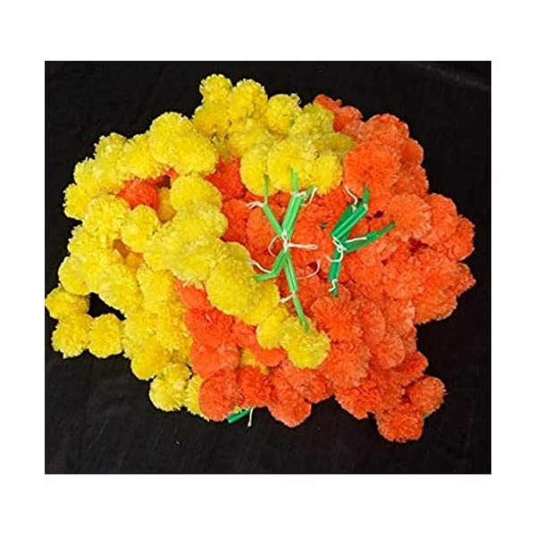 Nexxa 5 ft Long (Pack of 10) Yellow Orange Artificial Mixed Marigold Flower Garlands – for use in Home parties Diwali Ganesh Fest Decor, Celebrations, Indian weddings, Indian Themed Event, House Decor