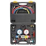 Manómetro de Diagnóstico de CA de 4 Vías para Bomba de Aspiradora y Carga Freon, Compatible con Refrigerantes R134A R410A y R22, con Manguera de 1,5 m, 3 Adaptadores de Tanque ACME, Acopladores Ajustables y Llave de Lata