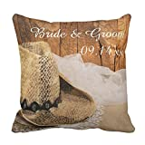 UOOPOO Cowboy Hat and Barn Wood Country Couple Custom Wedding Gift Throw Pillow Case Square 18 x 18 Inches Cotton Canvas Customized Wedding Pillow Cover for Sofa