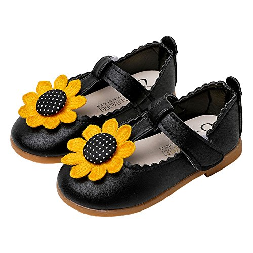 Toddler Girls Sunflowers Princess Mary Jane T-Strap Ballet Flat Dress Shoes Black Size 24