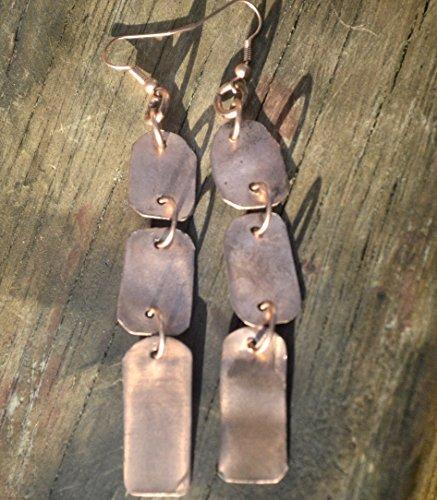 Modernist Dangle - Long Primitive Tribal Statement Rustic Handmade Copper Earrings Modernist Dangle Drop