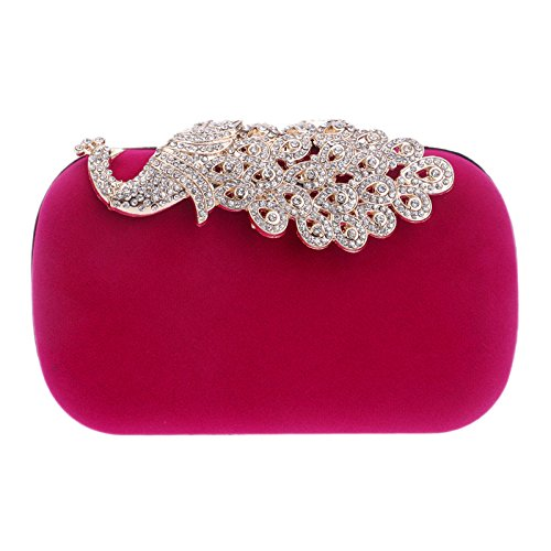Wedding Women Bridal Gift Shoulder Clutch Rosered For Purse Party Bag Glitter Diamante Clubs Flannel Ladies Prom Evening Bag Handbag B7qPwrBx