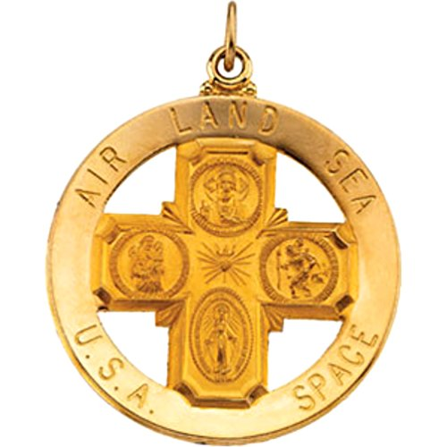 Air, Land, Sea, Space, USA Four Way Cross 14k Yellow Gold Medal