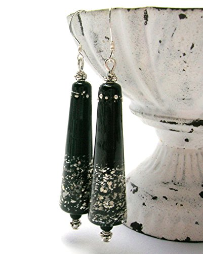 Silver Bali Cone (Black Murano and Silver Glimmer Cone Earrings - Handmade Art Bead Earrings - Long Drop - Sterling Silver Ear Wires)