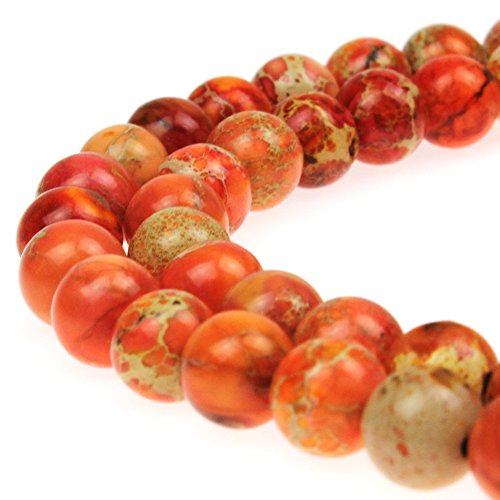 JarTc Natural Stone 6 Colors Sea Sediment Imperial Jasper Round Loose Beads for Jewelry Making (6mm, Orange)