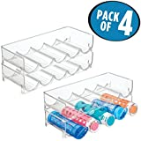 mDesign Stackable Wine and Water Bottle Rack for Kitchen Countertops, Pantry, Fridge– Pack of 4, Clear