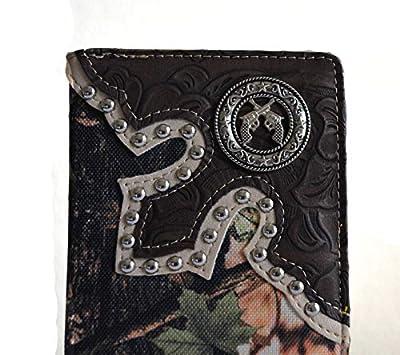 Men Black Camo Revolver Gun Concho Checkbook Bifold Wallet