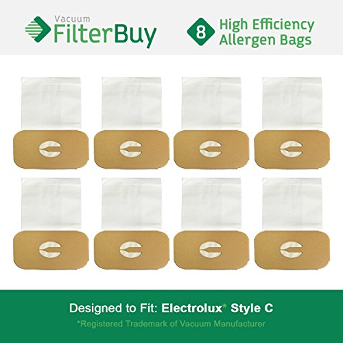 FilterBuy Electrolux Style C Bags. Designed to fit Electrolux Canister Vacuum Cleaners. Pack of 8.