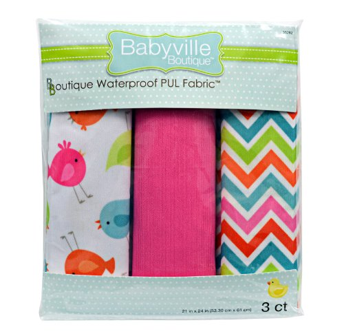 (Babyville Boutique 35282 PUL Fabric, Birds, Chevron and Pink Solid, 21 x 24-Inch)