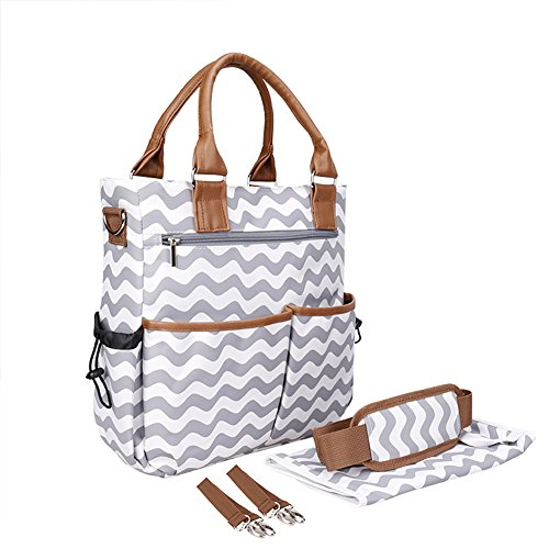 Huluwa Diaper Bag, Fashion Corrugated Multi-Function Travel Mummy Nappy Bag, Large Capacity Single Shoulder Bags Tote Bag Handbag for Baby Care with Stroller Hook, Gary