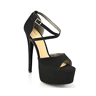 fd15ff7206 Womens PEEP Toe Strappy Platform Stiletto Ladies HIGH Heel Sandal Shoes  Size 3 4 5 6