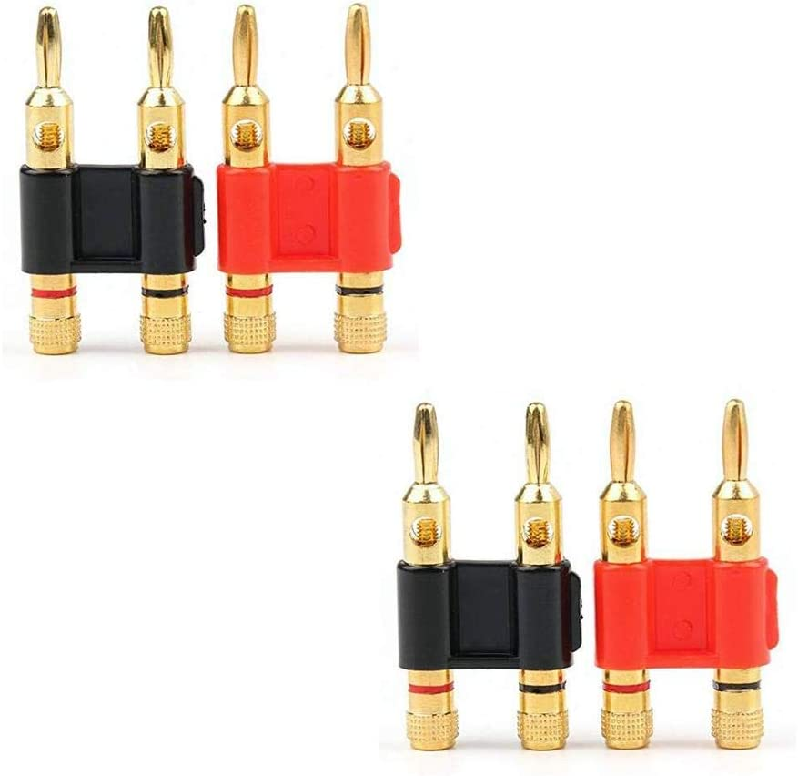 8 PCS 4 Pairs Speaker Banana Plug Connector Adapter Gold Plated Male Converter