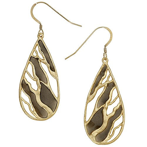 Intricate Branches Teardrop Earrings (24k Gold-Plated with Black Enamel Inlay) by Mercedes Shaffer
