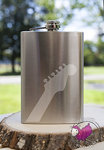 Groom Party Stein (Guitar Neck 8oz Etched Metal Flask Booze Alcohol College Brewing Vodka Whiskey Whisky Rum Tequila Funny Text Acoustic Electric Band Music Musician)