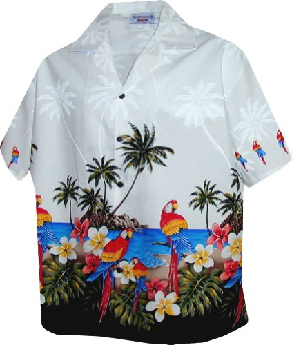 Border Hawaiian Aloha Shirts (Womens Parrots Beach Border Hawaiian Shirt (L, White))