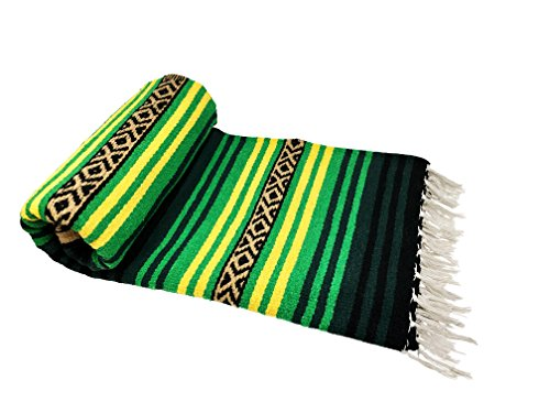 Spirit Quest Supplies Bodhi Blanket Mexican Style Throw Blanket - Falsa Blanket For Yoga, Picnics, Beach, Tapestry, Camping, More (Emerald Forest: Bright Green, Forest Green, Yellow, Black, Tan)