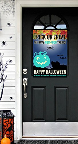 (Trick or Treat We Have Non Food Treats ~ Halloween Food Allergy Teal Pumpkin Front Door Sign)