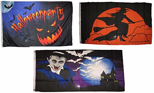 ALBATROS 3 ft x 5 ft Happy Halloween 3 Pack Flag Set #91 Combo Banner Grommets for Home and Parades, Official Party, All Weather Indoors Outdoors]()