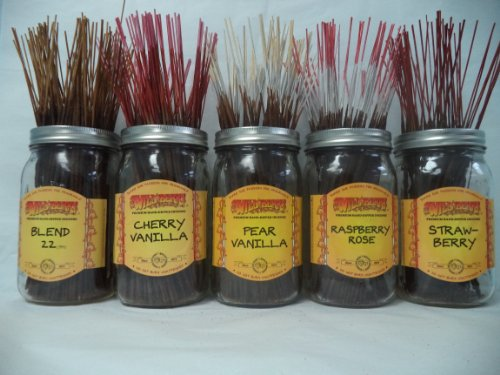 Wildberry Incense Sticks Fruit Scents Set #1: 4 Sticks Each of 5 Scents, Total 20 Sticks!