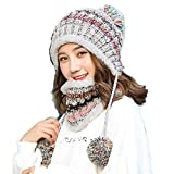 Thick Wool Knitting Winter Cap Scarf Women Warm Winter Cap Outdoor Keep Thermal Twinset Fashion Wool Female Sets (Grey)