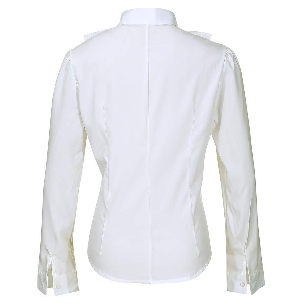 Nanxson kvinnor formal långärmad spetsar stående krage vintage skjorta blus business topp CSW0034 beige-71