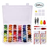 Embroidery Floss with Organizer Storage Box, BASEIN 108 Colors Friendship Bracelets Floss String Embroidery Thread String Kit with 39 Pcs Cross Stitch Kits Tools