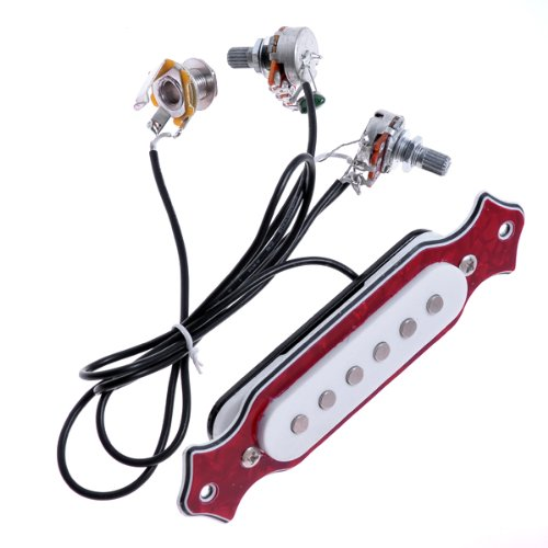 Kmise A6731 レッドパール 配線済みサウンドホール ピックアップセット ポット ノブ ジャック フォーク用 20セット   B00RYSVUX2