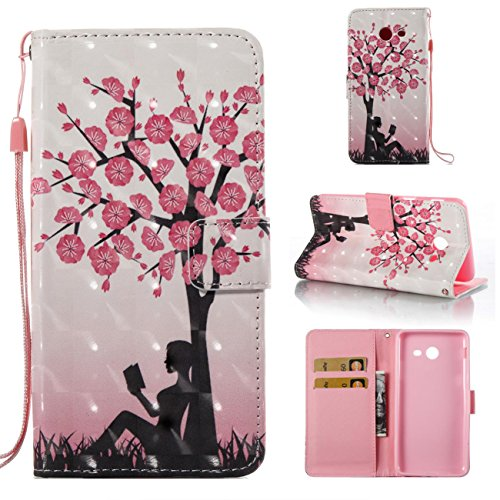 Galaxy J7 V Case / Galaxy J7 Perx Case / Galaxy J7 Sky Pro / J7 Prime / Galaxy Halo / J7 2017 Case, Magnetic Wallet Case Lightweight [Kickstand] Flip Cover with Credit Card Slot Protective Case -tree