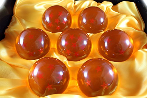 New DragonBall Z Stars Crystal Glass Ball 7pcs with Gift Box, LARGE 76MM in diameter