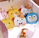 Gold Happy 50PC Cute Animal Modeling Candy Box Kids First Birthday Party Decoration Wedding Favors Paper Gift Boxes Baby Shower Supplies