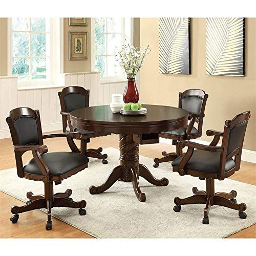 Coaster Home Furnishings Turk 5-Piece Round Game Table Dining Set Tobacco and Black by Coaster Home Furnishings