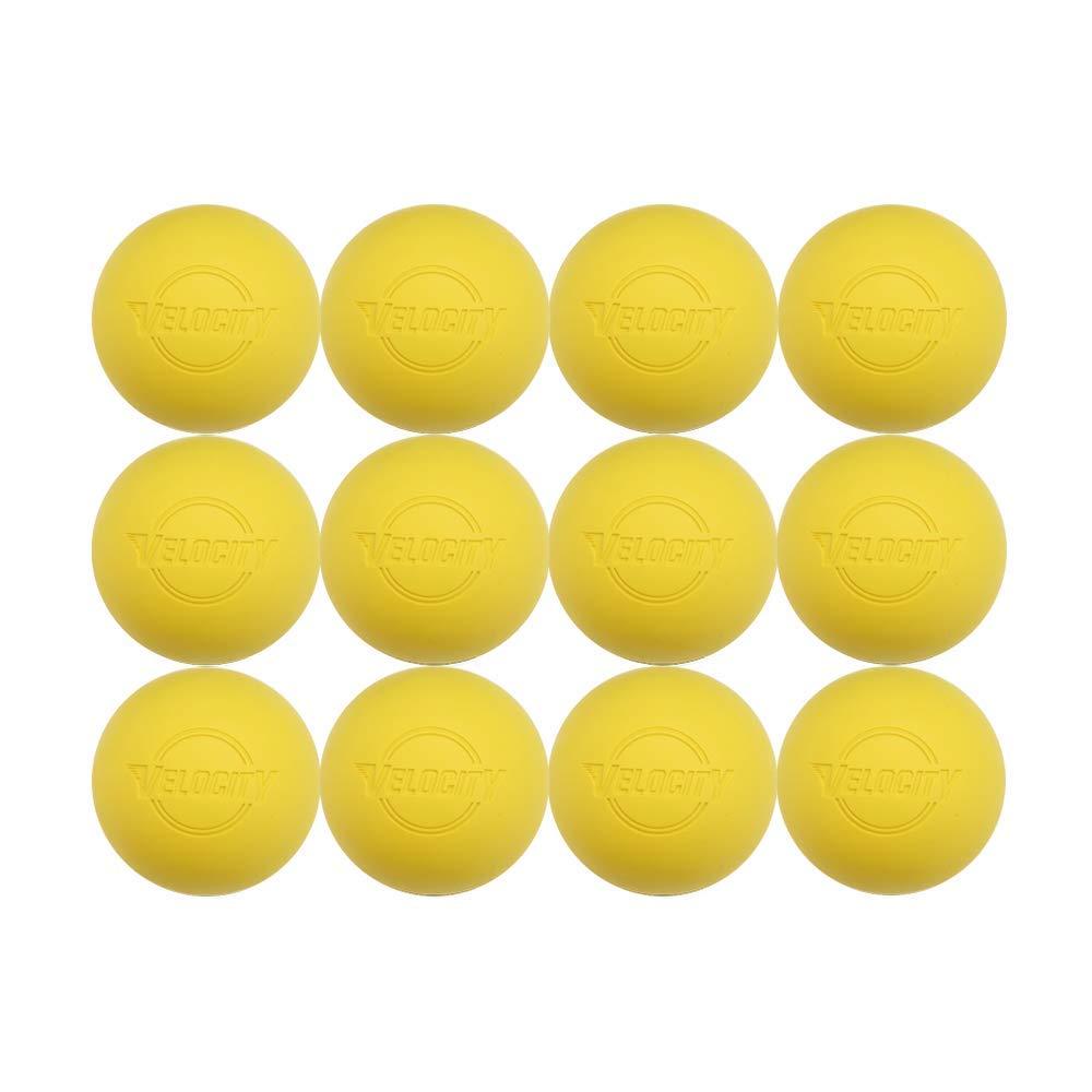 Velocity 12パックのラクロスボール大人&子供の:公式サイズProfessional、大学&高校。NOCSAE、NCAA、NFHS認定&公式ライセンス商品。色:イエロー、オレンジ&ホワイト。 B07CGB7B86 イエロー 12