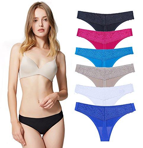 Underwear Women, Thong Panties Lace Bikini Seamless Sexy Invisible-6 Pack (Lace Thong Bikini)